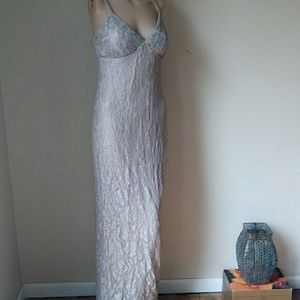 RIMINI Stretchy Lined Beaded Bodie Maxi Dress